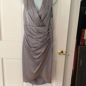 Kay Unger smoke stretch satin sheath dress NWT